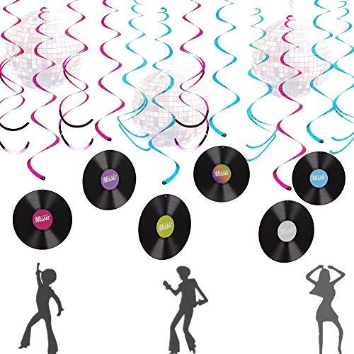 LaVenty Music Banner Music Record Decoration Disco Ball Decorations Disco Ball Banner 70