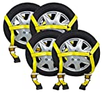 Mytee Products (4 Pack) 2'' x10' Ratchet Wheel Net Lasso Strap Auto Hauling with Flat Hook Double Ratchet