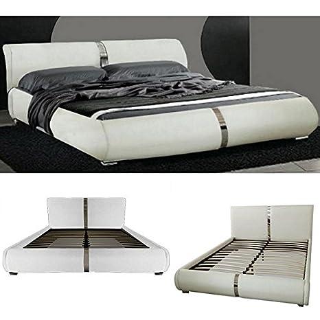 Letto Matrimoniale Bianco Moderno.Letto Matrimoniale Design Moderno 225x174 Bianco Piedini Inserti
