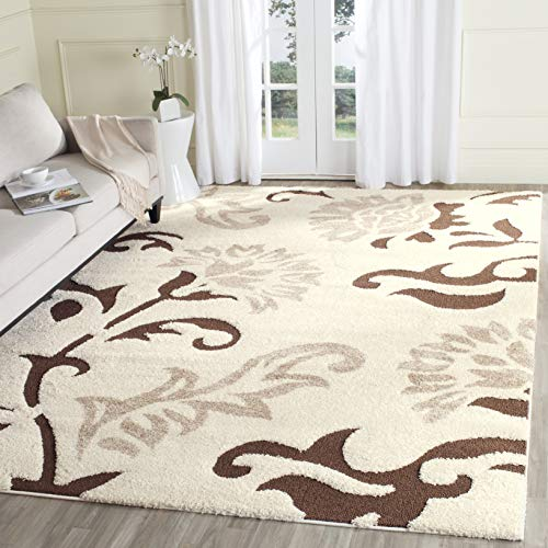 - Safavieh Florida Shag Collection SG463-1128 Cream and Dark Brown Area Rug (8' x 10')