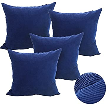 Deconovo Throw Pillow Corduroy Home Decorative Hand Made Pillow Case Cushion Cover for Travel, 18x18-inch, Blue, Set Of 4