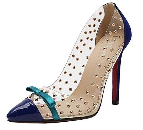 OUCHI Women Transparent Studs Bow Pointed Toe Stiletto High Heel Summer Pump CN38 - Mall Gilroy