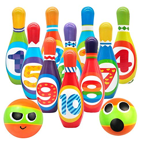 Kids Bowling Set Game Indoor Sport Toys 10 Colorful Soft Foam Pins 2 Bowling Balls Printed with Number Developmental Educational Toys Gift for Preschooler Toddlers Boys Girls Age 2 3 4 5 Year Old