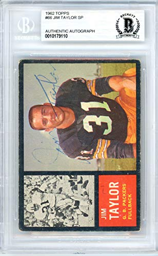 Jim Taylor Autographed 1962 Topps Card Autographed #66 Green Bay Packers - Beckett Authentic ()