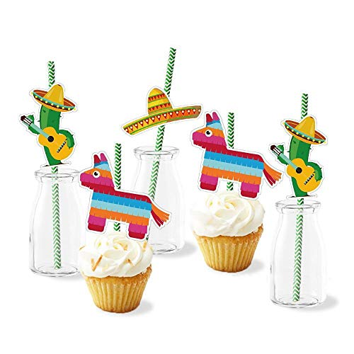 (Paper Straw Decor/Cactus Sombrero Donkey Pattern Decorative Straws for Mexican Fiesta Party/Theme Party Striped Straws - Set of 36)