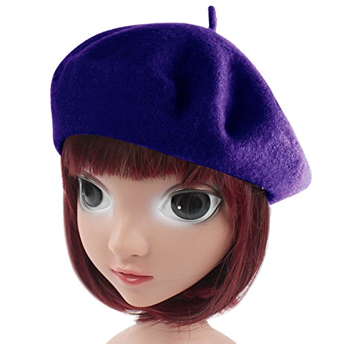 HowYouth Children Kids Girls Boys French Style Classic Solid Color Art Wool Beret Hat Beanie Cap (Blue)