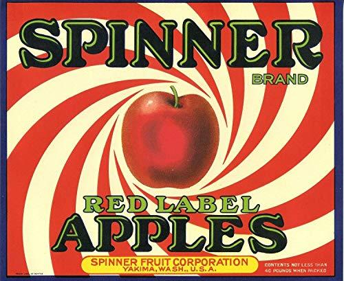 ShopForAllYou Posters & Prints Indoor Wall Art Red Label Apples Sinner Food Crate Label Art Poster
