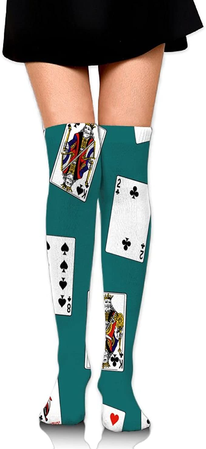 Playing Cards Design Over The Knee Socks
