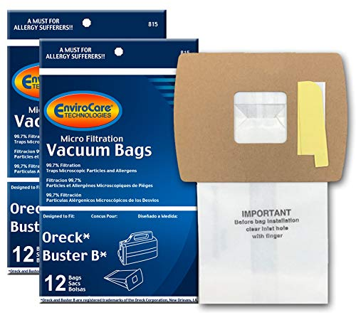 EnviroCare Replacement Vacuum Bags for Oreck Super-Deluxe Compact and Buster B Canisters 24 pack (Oreck Vacuum Bags Buster B)