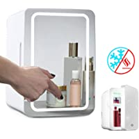 Mini Fridge Cooler And Warmer, 8 Liters Portable Mirrored Personal Fridge with LED Lighting, Compact And Quiet, Cosmetic Refrigerator for Skin Care, Makeup Storage, Beauty, 12V for Car/220V for Home