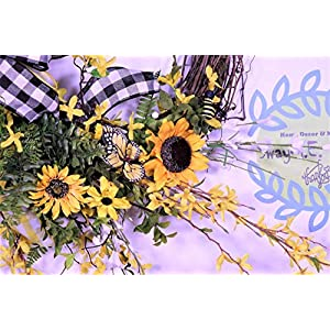 Sunflower Wreath, Summer Door Decor, Bumble Bee Decorations, Buffalo Plaid Farmhouse Wall Decor, Forsythia Floral, Grapevine Base, Spring 4