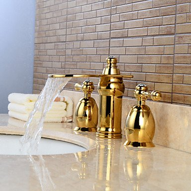 Contemporary wide waterfall/widely used titanium PVD ceramic valve two handles, shower, three holes by FAUCET&YAMEIJIA