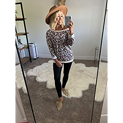 ECOWISH Women's Camouflage Print Casual Leopard Pullover Long Sleeve Sweatshirts Top Blouse at Women's Clothing store