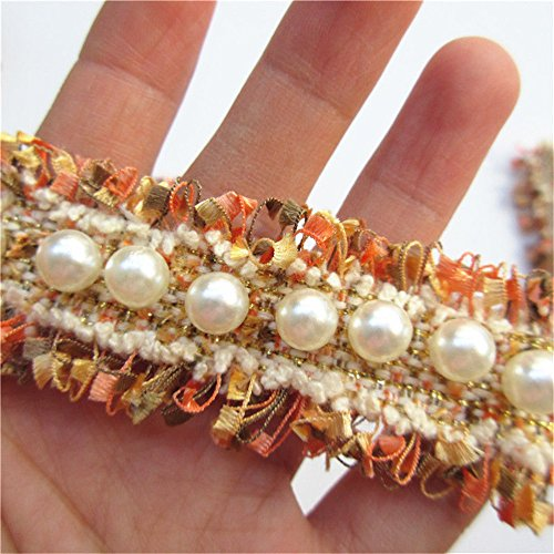 1 Meter Nylon Pearl Lace Ribbon Frayed E Width Vintage Style Golden Yellow Trimmings Fabric Embroidered Applique Sewing Craft Wedding Bridal Dress Embellishment DIY Party Decoration Clothes