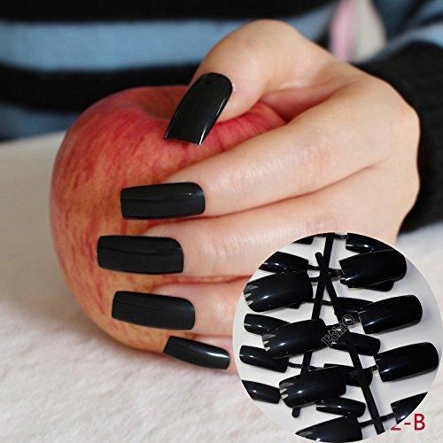 Black Fake Nails (Flat Ultra Long Acrylic Nail Tips Pure Black Shiny Fake Nails Full Wrap Finger Press-On Nails Easily Use BL)