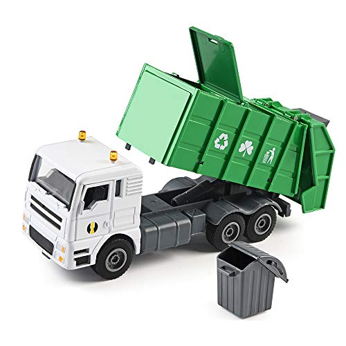 duturpo 1/50 Scale Diecast Waste Management Truck with Trash Bin, Metal Recycling Garbage Truck Toys for Kids Boys ()