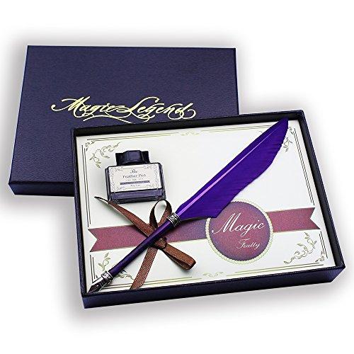 Featty-Cool Christmas Gifts Stationery Set Feather Dip Pen Quill Writing Pen (purple)