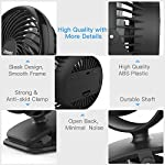 Clip on Fan Battery Operated Fan, USB or 2600mAh Rechargeable Battery Powered Small Desk Fan Whisper Quiet with 4 Speed Swivel 360° Portable Stroller Fan for Baby Stroller Home Office Camping, Black 17 【2018 Newest Upgraded Clip On Desk Fan】Ommani clip on fan optimized the fluid mechanics structure to make enhanced airflow but operate quieter. Sleek design with smoother fringe and more stable head that won't get loose easily, really a neat personal fan makes you cool. 【4 Speeds, Powerful Motor, Whisper Quiet】Preferably 4 speeds from breeze to strong wind for all your needs. Powerful brushless & rust-less copper-core motor makes strong wind up to 80ft/s like sticking your head out the window when you're on the freeway, while being more durable and quieter, minimal noise low to 30db, won't bother even your baby's sleep. 【USB or 2600mAh Rechargeable Battery Powered】Upgraded with the best quality rechargeable & replaceable battery, last 3 - 8 HOURS depends on the wind speed. It can work and charge at the same time by laptop, power bank or USB charger via the supplied micro USB cord, which saves your money and hassle of buying batteries.