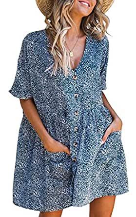 ECOWISH Women's V Neck Button Down Leopard Floral Dress Short Sleeves Loose Top Dresses with Pockets Blue S