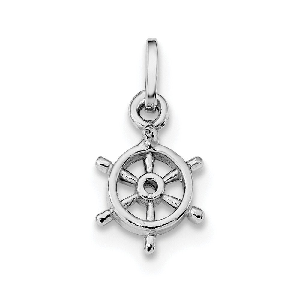 Bonyak Jewelry Sterling Silver Rhodium Plated Polished Captains Wheel Charm