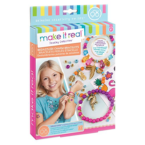Make It Real – Bedazzled! Charm Bracelets - Graphic Jungle. DIY Charm Bracelet Making Kit for Girls. Arts and Crafts Kit to Create Unique Tween Bracelets with Beads, Charms & Matching Tattoo Sticker