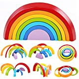 Lewo Wooden Rainbow Stacking Game Learning Toy Geometry Building Blocks Educational Toys Kids Baby Toddlers