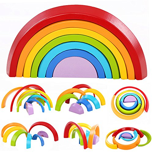 Lewo Wooden Rainbow Stacking Game Learning Toy Geometry Building Blocks Educational Toys for Kids Baby Toddlers