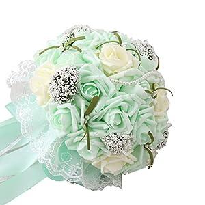 iLovewedding Mint Green Wedding Bouquets for Bridesmaids Rose Pearls Artificial Flowers Handmade Bridal Wedding Bouquet 42