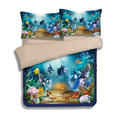 Guidear Underwater World Dolphin Mermaid Bedding Set for Kids Children Marine Life Duvet Cover with 2 Pillowcases Finding Nemo Microfiber Quilt Cover Queen Size 90