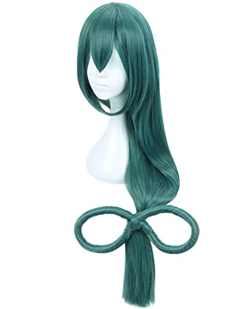Dazcos Tsuyu Asui Cosplay Wig Froppy Long Green Hair With Bow Green