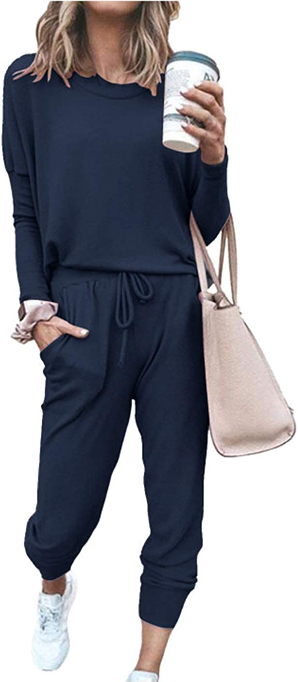 PRETTYGARDEN Women's Solid Color Two Piece Outfit Long Sleeve Crewneck Pullover Tops And Long Pants Sweatsuits Tracksuits