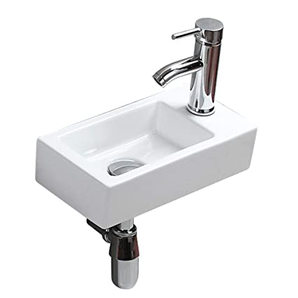 Strange Econnect Eu Small Apartment Bathroom Sink Cloakroom Rectangular Compact Corner Wall Hanging Modern Fashion Art Basin White Ceramic Sink Shower Room Home Interior And Landscaping Sapresignezvosmurscom