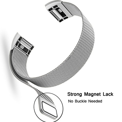 For Fitbit Charge 2 Bands, Maledan Stainless Steel Milanese Loop Metal Replacement Accessories Bracelet Strap with Unique Magnet Lock for Fitbit Charge 2 HR Silver Small