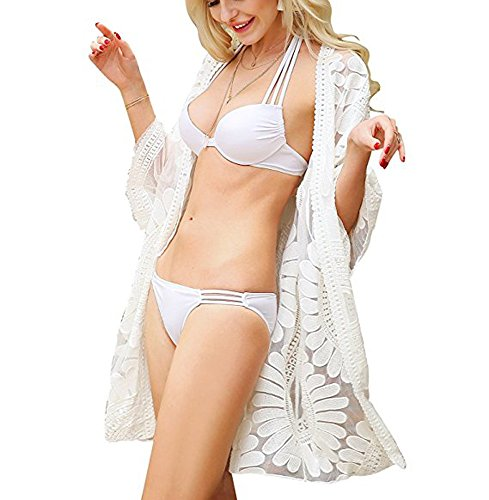 Free Rose Women's Floral Crochet Lace Beach Swimsuit Cover Ups Long Vintage Kimono Cardigan (White) ()