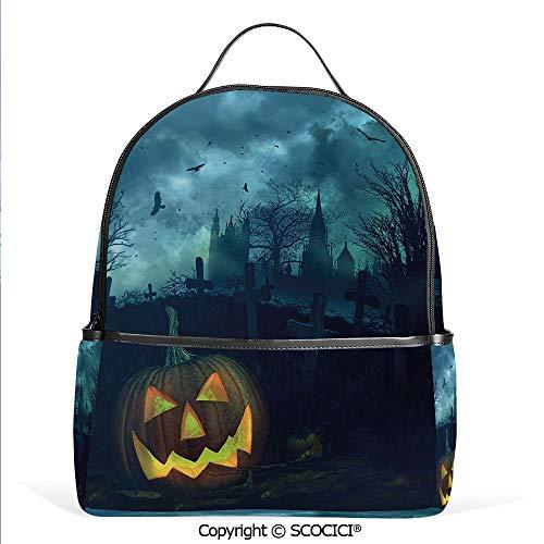 All Over Printed Backpack Halloween Pumpkin in Spooky Graveyard Eerie Gloomy Stormy Atmosphere,Petrol Blue Yellow,For Girls Cute Elementary School Bookbags]()