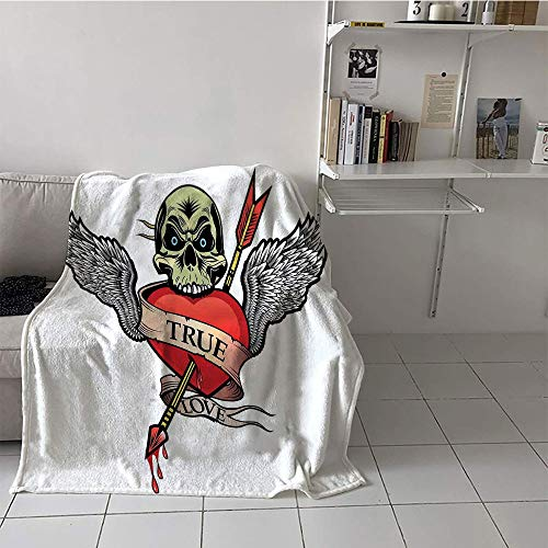 - Khaki home Children's Blanket Bed Blanket for Sofa Couch Bed (60 by 80 Inch,Tattoo Decor,Skull with Diamond Eyes and Floral Vine Art Tattoo Renaissance Inspired,Brown and Black