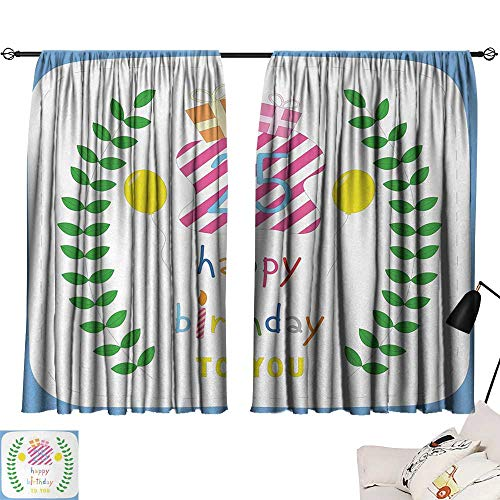 Jinguizi 25th Birthday Set of 2 Panels Happiness Nature Themed Composition Pastel Presents Balloons Artwork Print reducing Noise Darkening Curtains Multicolor W55 x L39 by Jinguizi (Image #6)