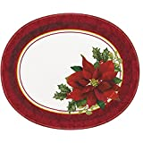 Holly Poinsettia Holiday Oval Paper Plates, 8ct