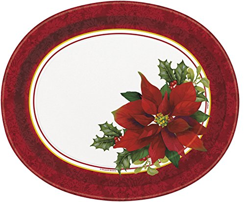 Holly Poinsettia Holiday Oval Paper Plates, 8ct -
