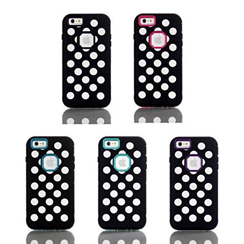 iPhone 6 Case Plus, affaire à motifs vendre Lantier Hot Polka Dot Motif hybride Avec Case Inner dur PC et Silicone Cover boîtier externe pour l'iPhone 6 / 6S plus Hot Pink