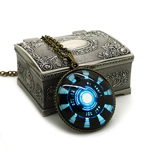 Dandingding Vintage Iron Man Arc Reactor 1 Pendant Necklace with Jewelry Box Great Gift for Tony Stark Fans Christmas Gifts