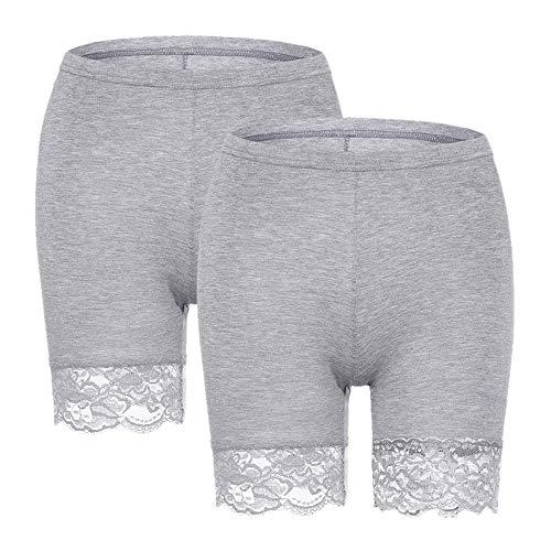 Slip Shorts for Women Short Leggings Mid Thigh Legging Plus Size Lace Undershorts Gray 2 Pack XX-Large