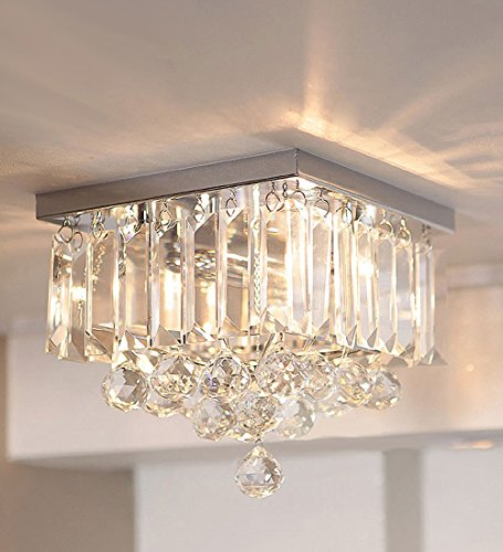 Siljoy Chandelier Lighting Modern Crystal Raindrop Ceiling Lighting W9.8″ x L9.8″ x H9″