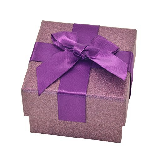 Paialco Jewelry Package Paper Gift Box Purple Ribbon Bow-knot 2 1/6-Inch by 2 1/6-Inch (Ribbon Accessories Jewelry Bow)