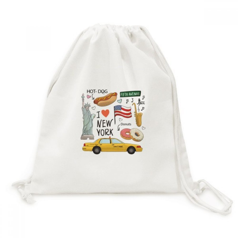 I Love New York Hot Dog Donuts America Texi Canvas Drawstring Backpack Travel Shopping Bags by DIYthinker (Image #1)
