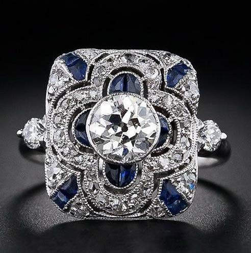 - Crookston Women 925 Silver Ring White Topaz Sapphire Jewelry Men Wedding Gift Sz 6-10 | Model RNG - 15494 | 10