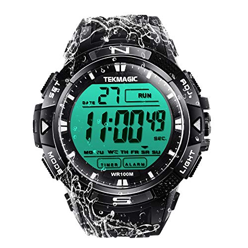 TEKMAGIC 10 ATM Digital Submersible Diving Watch 100m Water Resistant Swimming Sport Wristwatch Luminous LCD Screen with Stopwatch Alarm Function ()