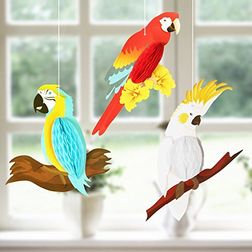 PAPER JAZZ Summer Luau tiki Hawaiian beach tropical Party Parrot tropical birds Honeycomb Hanging Decorations Red White Blue(parrot only) (Parrot Decorations)