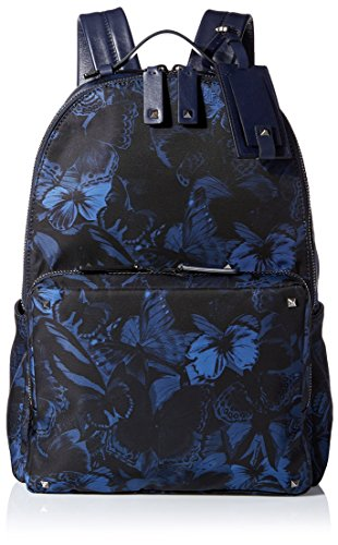 VALENTINO Men's Butterfly-Print Nylon and Leather Backpack, Blue