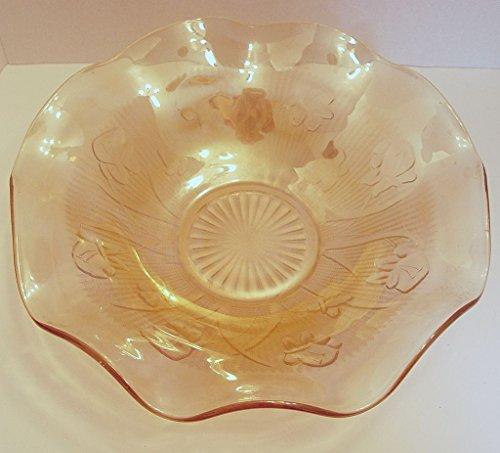 Large Jeannette Glass Iris and Herringbone Ruffled Fruit Serving Bowl Marigold Carnival Glass